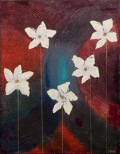'Blossom' - Modern Style Oil on Canvas  Flower Painting from India