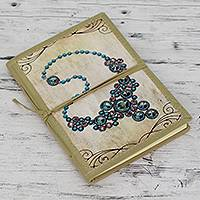 Handmade paper journal, 'Blue Gems' - Handcrafted Paper Journal with Jewel Motif on Cover