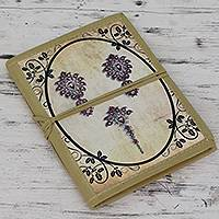 Handmade paper journal, 'Ruby Jewels' - Vintage Look Journal of Handmade Paper with Cotton Trim