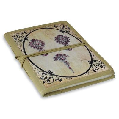 Handmade paper journal, 'Ruby Jewels' - Vintage Look Journal of Handmade Paper with Cotton Trim