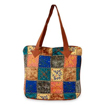 Cotton blend tote handbag, 'Fantasy Garden' - Colorful Applique Sequin Tote Bag with Machine Embroidery