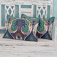 Embroidered cushion covers, 'Autumn in Delhi' (pair) - Multicolored Embroidered Cushion Covers from India (pair)