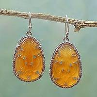 Carnelian dangle earrings, 'Maharashtra Blossom' - Hand Carved Carnelian Flower Earrings with CZ from India