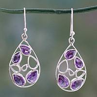 Amethyst dangle earrings, 'Lilac Tears' - Teardrop Shaped Amethyst Dangle Earrings in Silver