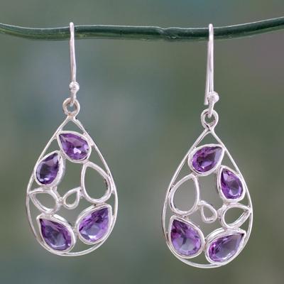 Amethyst dangle earrings, 'Lilac Tears' - Teardrop Shaped Amethyst Dangle Earrings in Silver