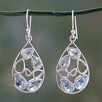 Blue topaz dangle earrings, 'Sky Blue Tears' - Pale Blue Topaz Gemstone Earrings in Sterling Silver