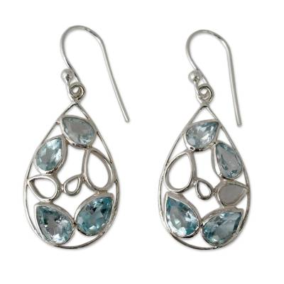Pale Blue Topaz Gemstone Earrings in Sterling Silver