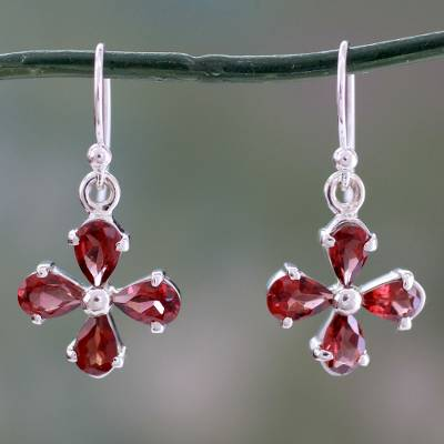 Garnet dangle earring, 'Scarlet Blossom' - Genuine Garnet Flower Earrings in 925 Sterling Silver