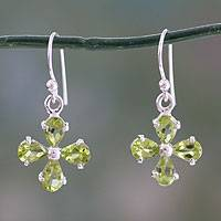 Peridot dangle earrings, 'Chartreuse Blossom' - Floral Dangle Earrings with Peridot and Sterling Silver