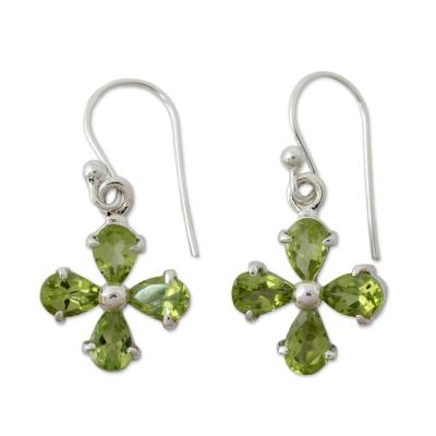 Floral Dangle Earrings with Peridot and Sterling Silver