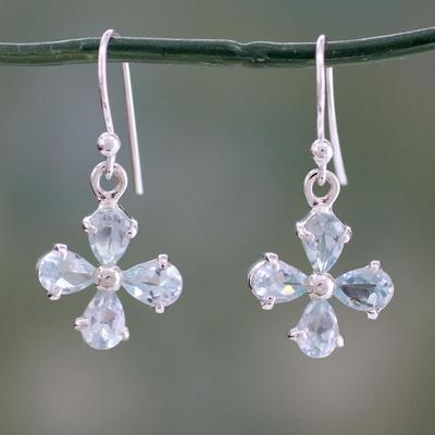 Blue topaz dangle earrings, 'Sky Blue Blossom' - Flower Shaped Blue Topaz Dangle Earrings in 925 Silver