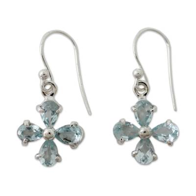 Flower Shaped Blue Topaz Dangle Earrings in 925 Silver