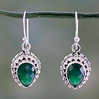 Green onyx dangle earrings, 'Evergreen Dreams' - Checkerboard Cut Green Onyx and Sterling Silver Earrings