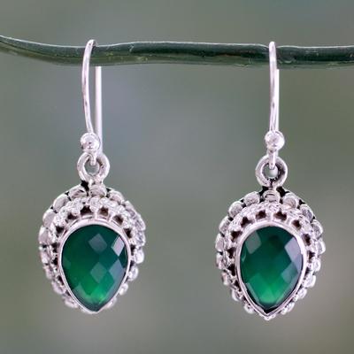 Green onyx dangle earrings, 'Evergreen Dreams' - Checkerboard Cut Green Onyx and Sterling Silver Earrings