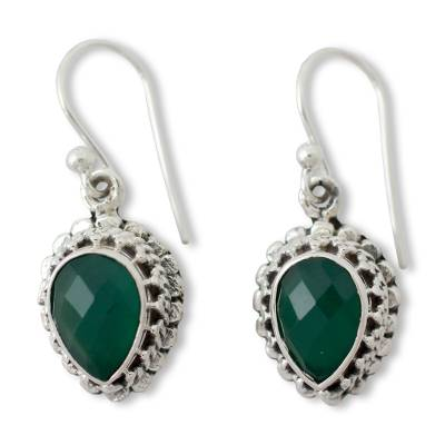 Checkerboard Cut Green Onyx and Sterling Silver Earrings