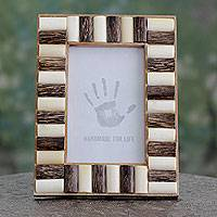Bone and teak wood photo frame, 'Forest Appeal' (4x6) - Handcrafted Teak and Bone Photo Frame from India (4x6)