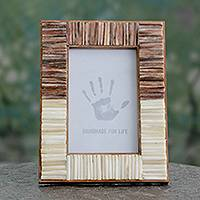 Bone photo frame, 'Natural Memories' (4x6) - Artisan Crafted Bone Photo Frame from India (4x6)