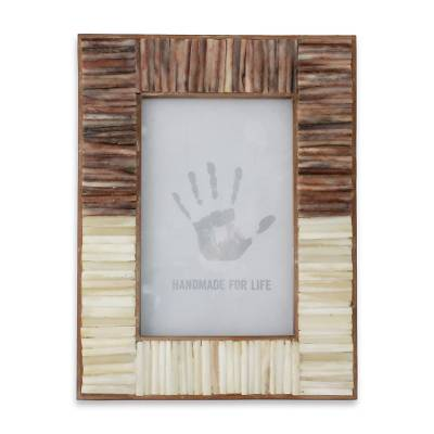 Artisan Crafted Bone Photo Frame from India (4x6) - Natural Memories ...
