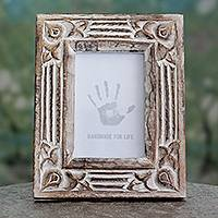 Wood photo frame, 'Moradabad Memories' (4x6) - Hand Carved Wooden Photo Frame with Antiqued Finish (4x6)