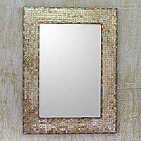 Glass mosaic wall mirror, 'Golden Moradabad' - Handmade Glass Mosaic Wall Mirror by Indian Artisan