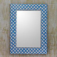 Resin wall mirror, 'Blue Illusion' - Blue and White Resin Wall Mirror Handmade in India