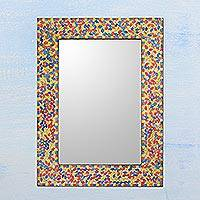 Glass mosaic wall mirror, 'Summer Leaves' - Handcrafted Multicolored Glass Mosaic Wall Mirror