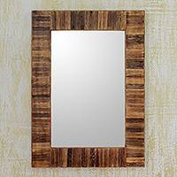 Bamboo wall mirror, 'Bamboo Grove' - Fair Trade Handcrafted Bamboo Wall Mirror by Indian Artisan