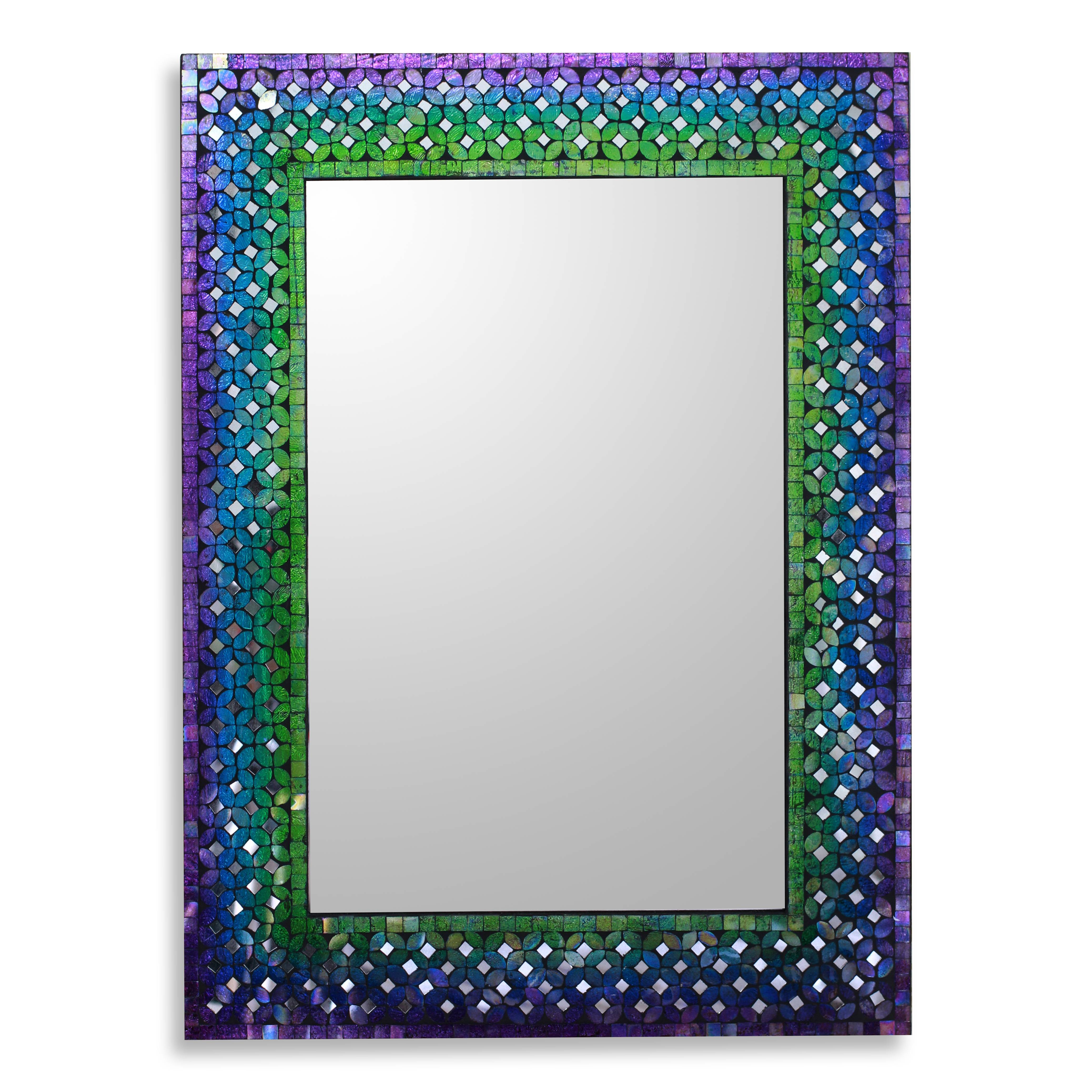 Turquoise Wall Mirror unique artisan crafted glass mosaic tile wall mirror - holi