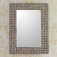 Embellished wall mirror, 'Golden Studs' - Brass and Steel Embellished Wall Mirror from India