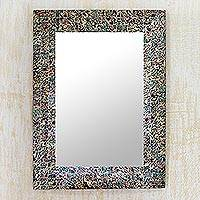 Glass mosaic wall mirror, 'Smoldering Fire' - Fair Trade Glass Wall Mirror with Colorful Mosaic Tiles