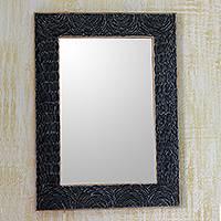 Glass mosaic wall mirror, 'Night Waves' - Black and Gray Recycled Glass Bangle Wall Mirror