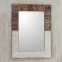 Bone wall mirror, 'Natural Memories' - Natural Two-Toned Water Buffalo Bone Framed Wall Mirror