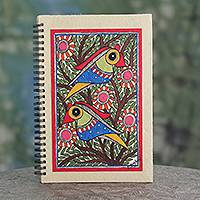 Madhubani journal, 'Breaking Dawn' - Indian Madhubani Style Journal with Bird Painting on Cover
