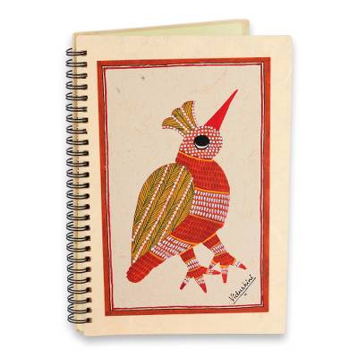 Journal, 'Baby Bird' - Charming Handpainted Unlined Journal with Baby Bird