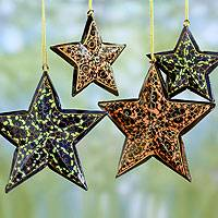 Wood Christmas ornaments, 'Starry Night' (set of 4)