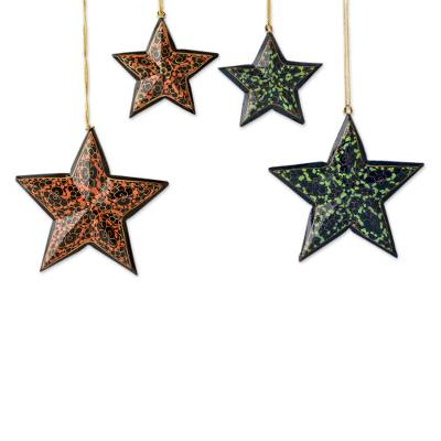 Wood Christmas ornaments, 'Starry Night' (set of 4) - Fair Trade Star Shaped Christmas Ornaments (set of 4)