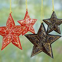 Wood Christmas ornaments, 'Midnight Carols' (set of 4) - Artisan Crafted Wooden Star Christmas Ornaments (Set of 4)