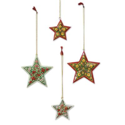 Wood Christmas ornaments, 'Holiday Bouquet' (set of 4) - Red and Yellow Floral Star Ornaments from India (Set of 4)