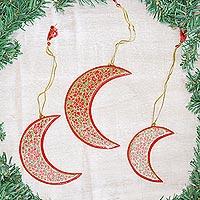 Wood Christmas ornaments, 'Dreamy Moons' (set of 3) - Red Crescent Moon Hand Painted Christmas Ornaments (set of 3