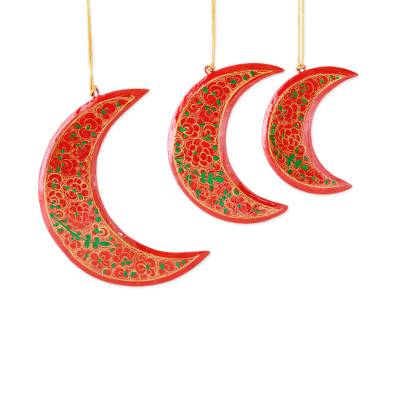 Wood Christmas ornaments, 'Dreamy Moons' (set of 3) - Red Crescent Moon Hand Painted Christmas Ornaments (set of 3