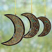 Wood Christmas ornaments, 'Midnight Moons' (set of 3)