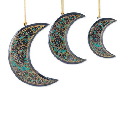 Wood Christmas ornaments, 'Midnight Moons' (set of 3) - Fair Trade Hand Painted Moon Christmas Ornaments (set of 3)
