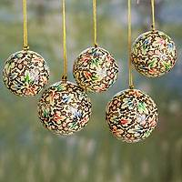 Papier mache ornaments, 'Holiday Greetings' (set of 5) - Hand Painted Papier Mache Christmas Ornaments (set of 5)