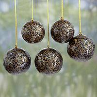 Papier mache ornaments, 'Midnight Cheer' (set of 5) - Dark Blue and Gold Papier Mache Holiday Ornaments (Set of 5)