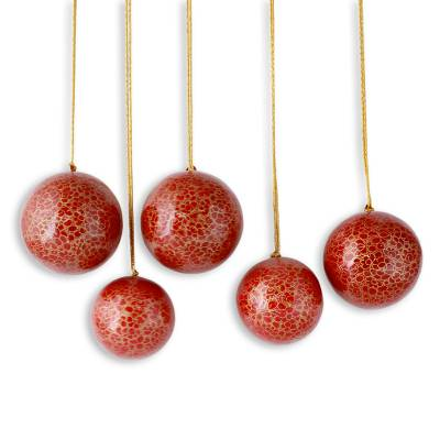 Red Christmas Ornaments.Handmade Floral Christmas Ornaments In Red And Gold Christmas Cheer