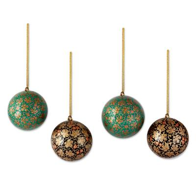 Papier mache ornaments, 'Chinar Cheer' (set of 4) - Green and Black Leaf Pattern Christmas Ornaments (set of 4)