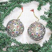 Large papier mache ornaments, 'Holiday Festival' (pair)