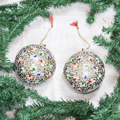 Large papier mache ornaments, 'Holiday Festival' (pair) - Large Papier Mache Tree Ornaments from India (pair)