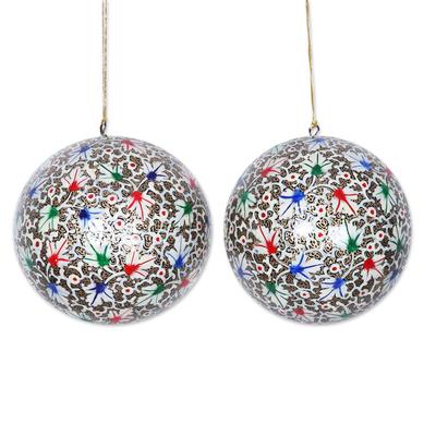 Large papier mache ornaments, 'Holiday Festival' (pair) - Large Papier Mache Tree Ornaments from India (pair)