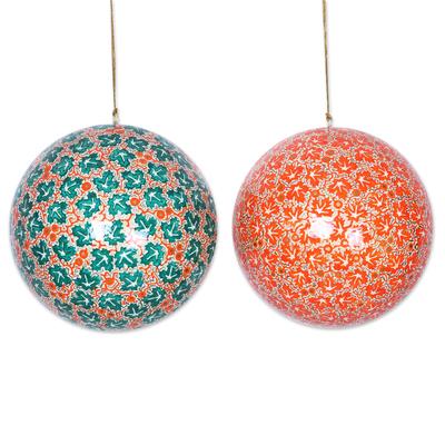 Large papier mache ornaments, 'Festive Chinar' (pair) - Artisan Hand-Painted Papier Mache Ornaments (pair)